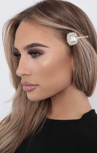 Silver Large Gemstone Hair Slide - Payton