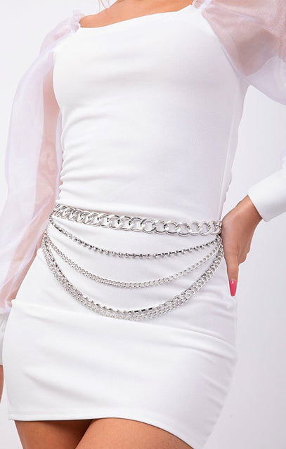 Silver Layered Hoop Diamante Chain Belt - Charlize
