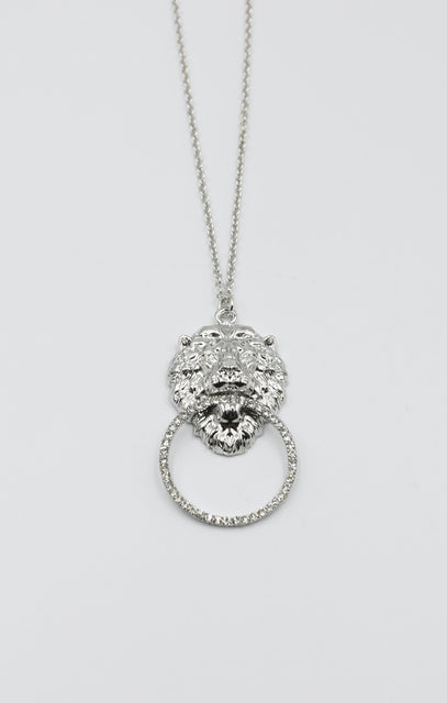 Silver Lions Head Pendant Necklace - Azlan
