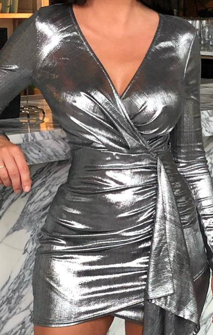 Silver Metallic Bodycon Side Detail Dress - Meela