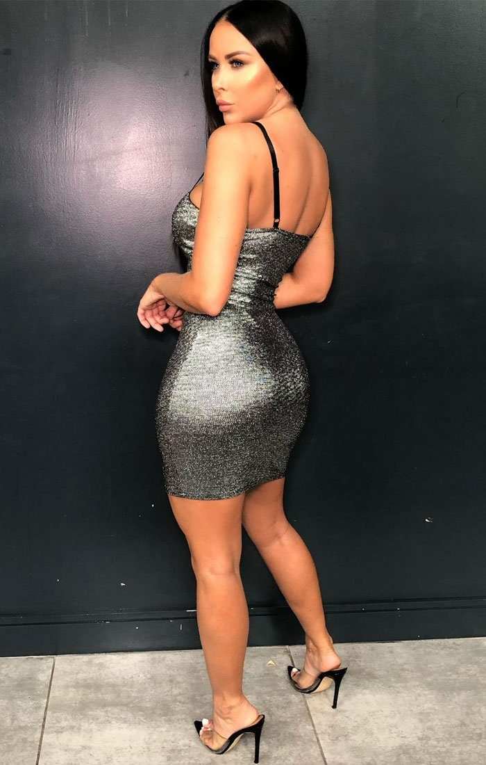 Silver Metallic Glitter Bodycon Dress - Gilia