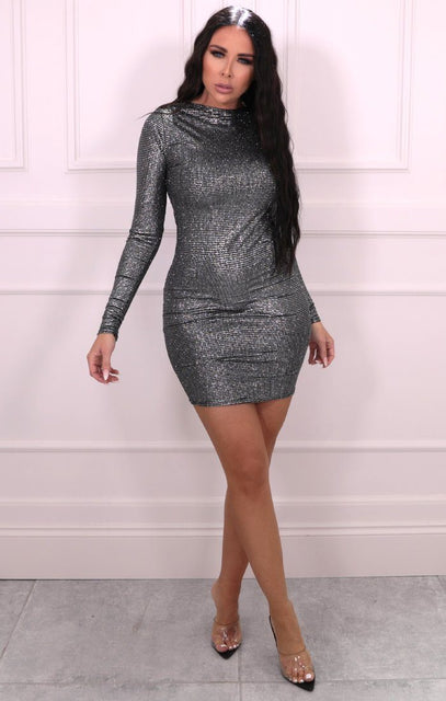 Silver Metallic Long Sleeve Bodycon Mini Dress - Salvy