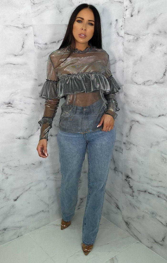 Silver Metallic Mesh Frill Long Sleeve Top - Chloe