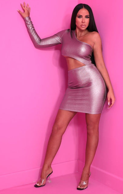 Silver Metallic One Shoulder Cut Out Bodycon Mini Dress - Ingrid