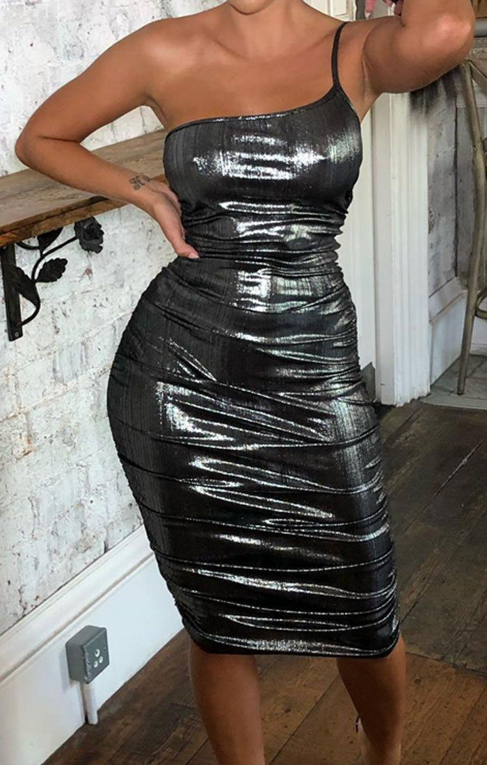 Silver Metallic One Shoulder Midi Dress - Viola