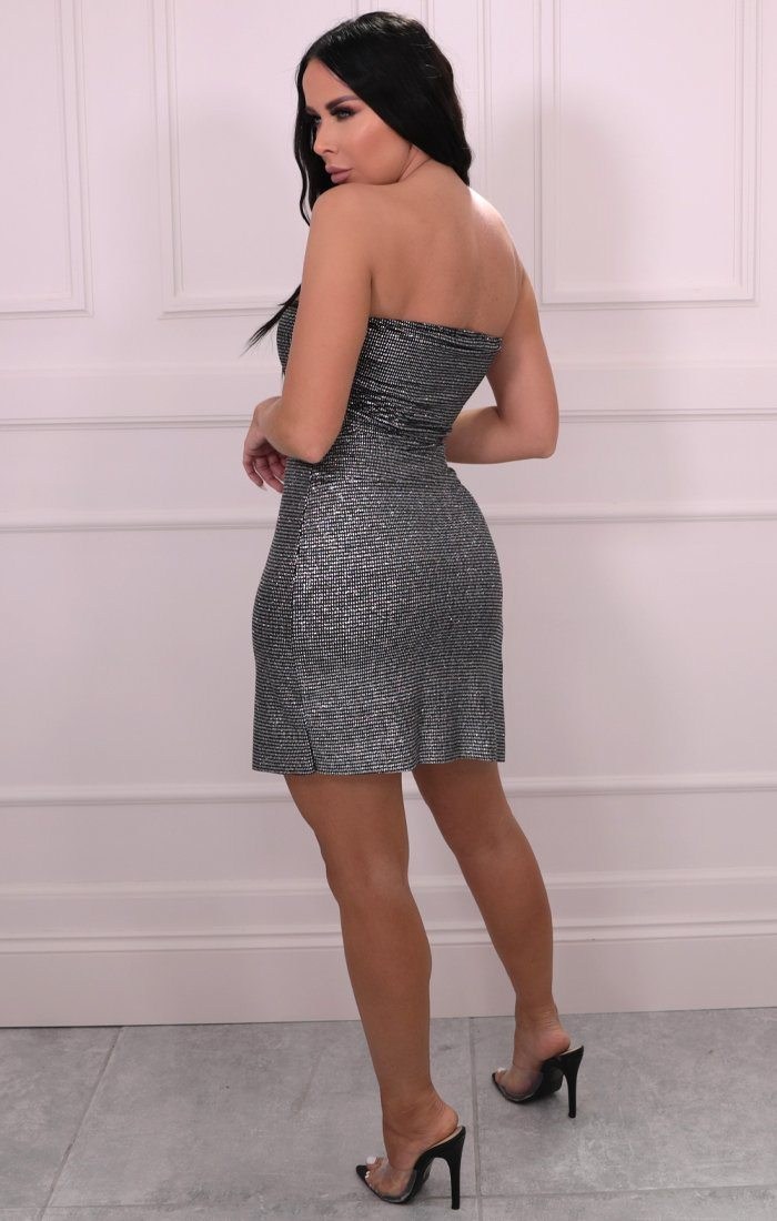 Silver Metallic Stripe Strapless Bodycon Mini Dress - Jemma