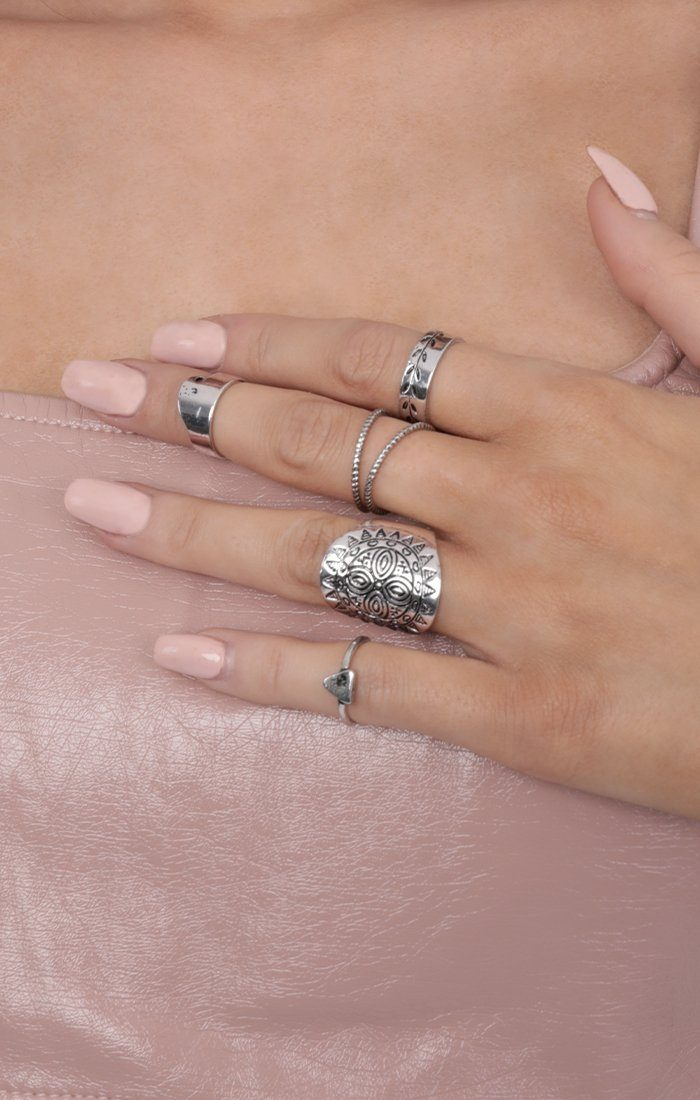 Silver Multi-Pack Patterned Rings - Briella