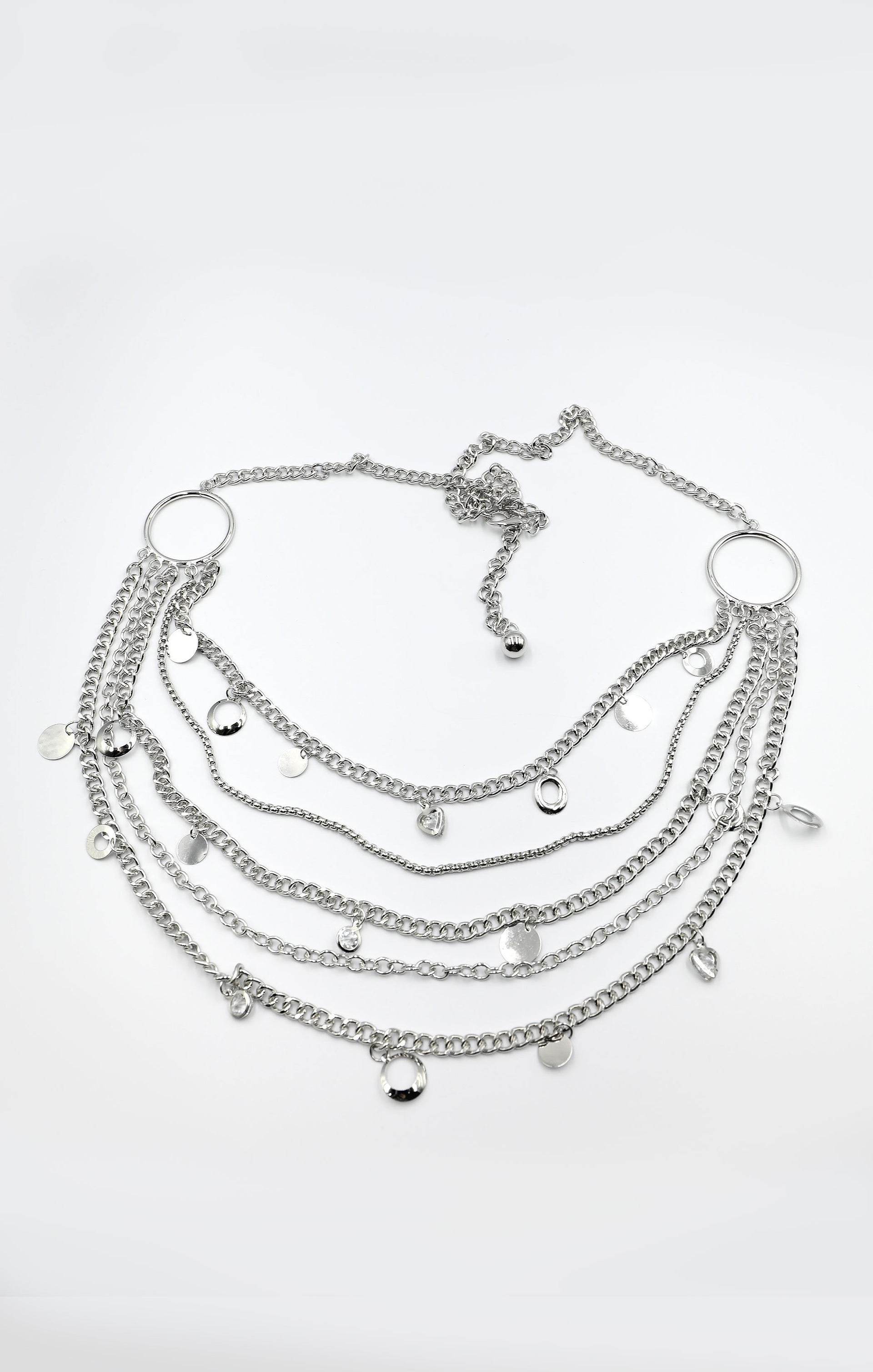 Silver Multilayer Drop Charm Belly Chain Belt - Cleo