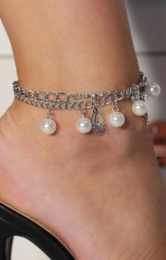 Silver Pearl Chain Drop Anklet - Brogan