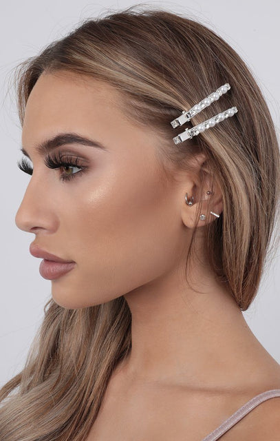 Silver Pearl & Diamond Hair Slide Two Pack - Laila