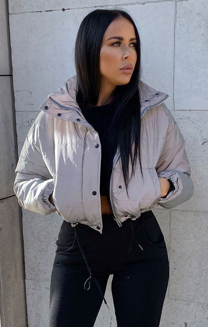 Silver Reflective Cropped Puffer Jacket - Luna