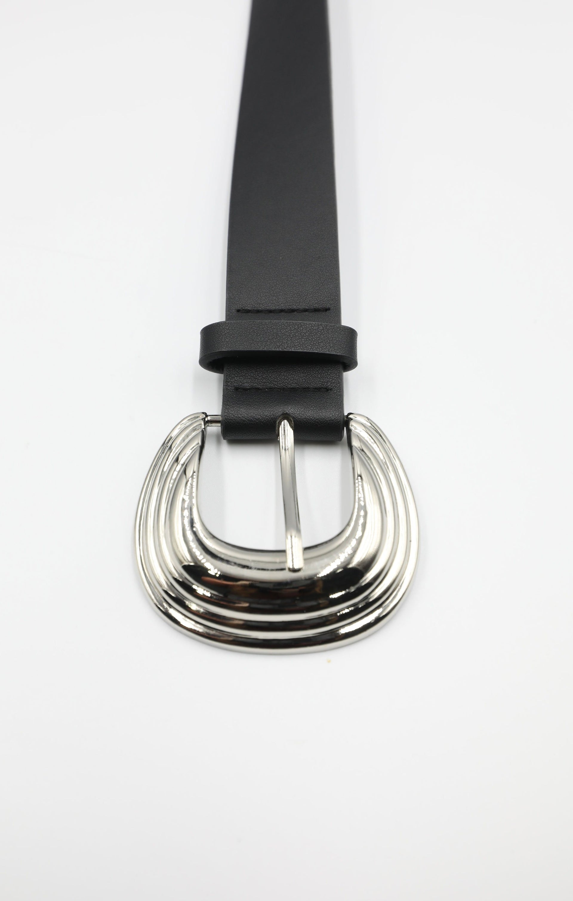 Silver Ripple Metal Buckle Thick Black Belt - Kalina