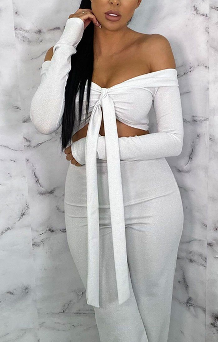 Silver Sparkly Tie Front Crop Top Co-ord - Ffion