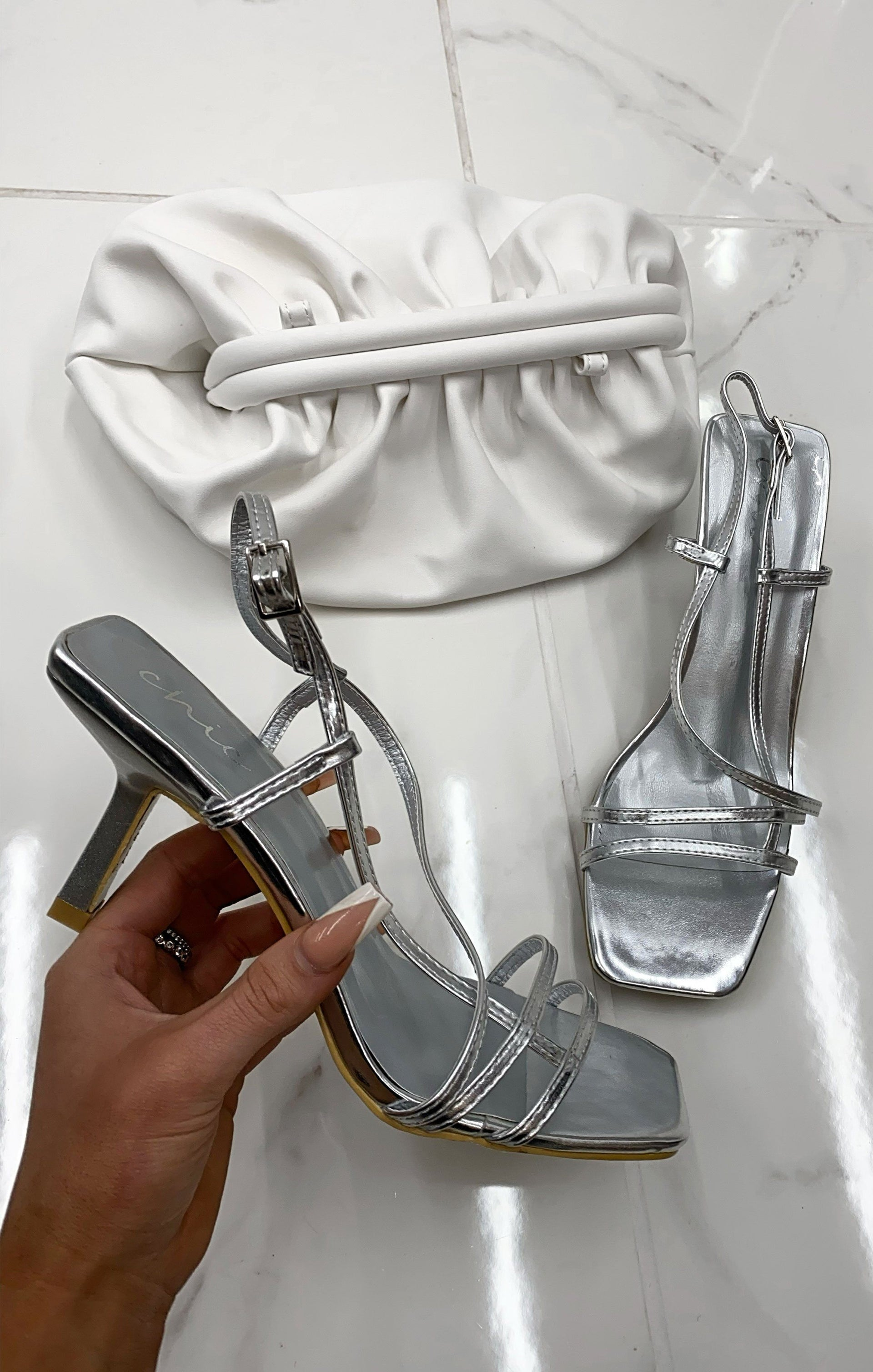 Silver Strappy Square Toe Low Heels - Talia