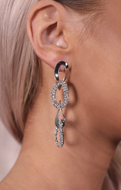 Silver Twist Chain Link Diamante Drop Earrings - Farrah