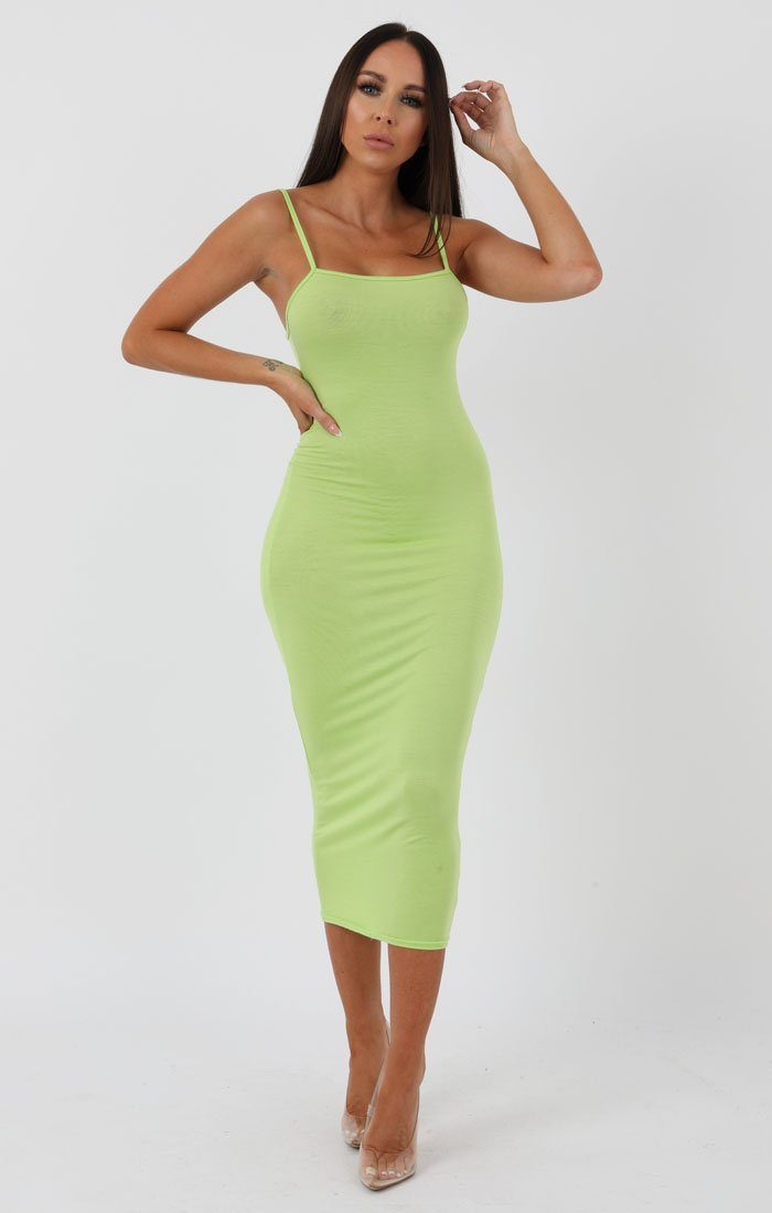Lime Square Neck Strappy Midi Dress - Carly