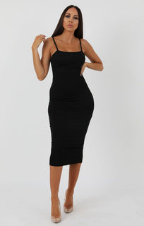 Black Square Neck Strappy Midi Dress - Carly sale FemmeLuxe