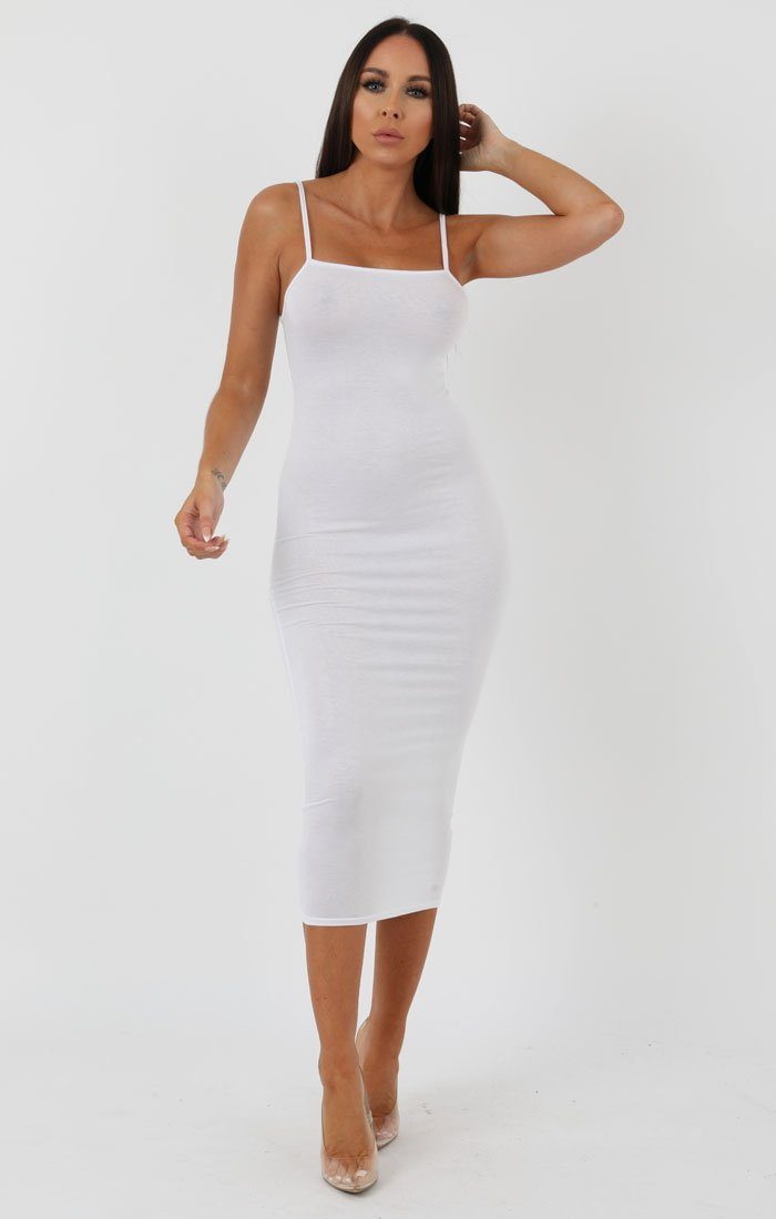 White Square Neck Strappy Midi Dress - Carly