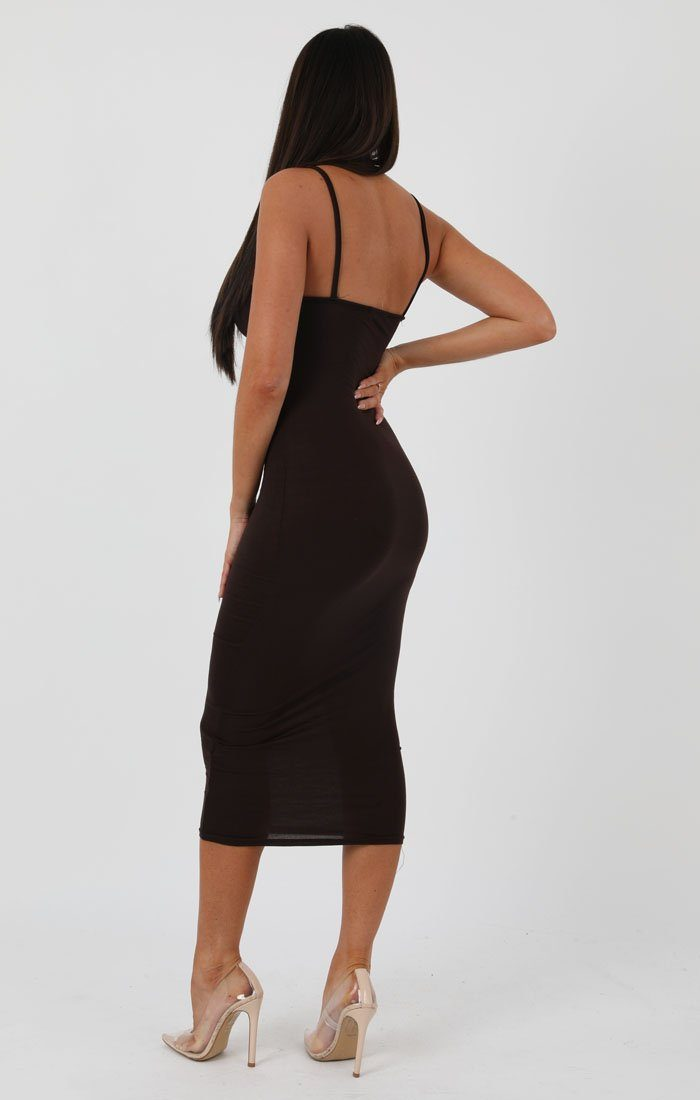Brown Square Neck Strappy Midi Dress - Carly