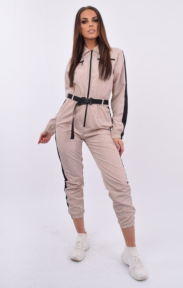 Stone Black Stripe Belted Jumpsuit Shell Suit - Tahlia