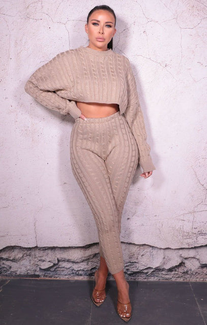 Stone Cable Knit Cropped Jumper Leggings Co-ord - Baker