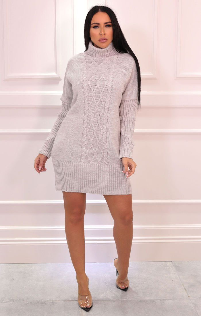 Stone Cable Knit Oversized Turtleneck Jumper Dress - Eike