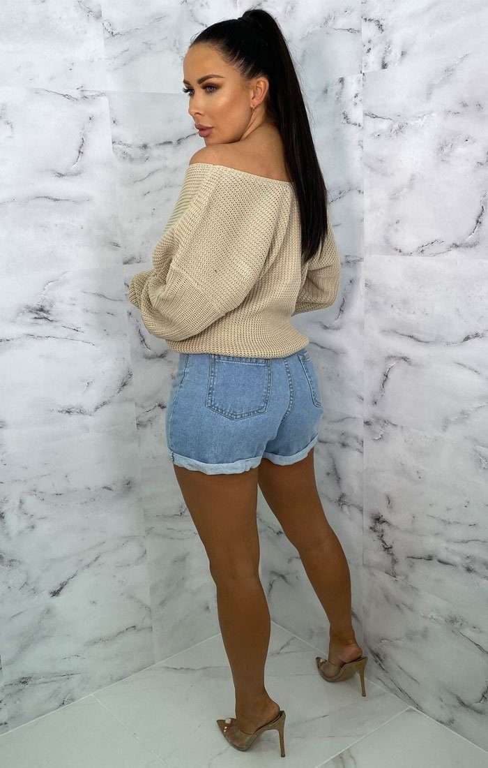 Stone Front Wrap Knitted Jumper