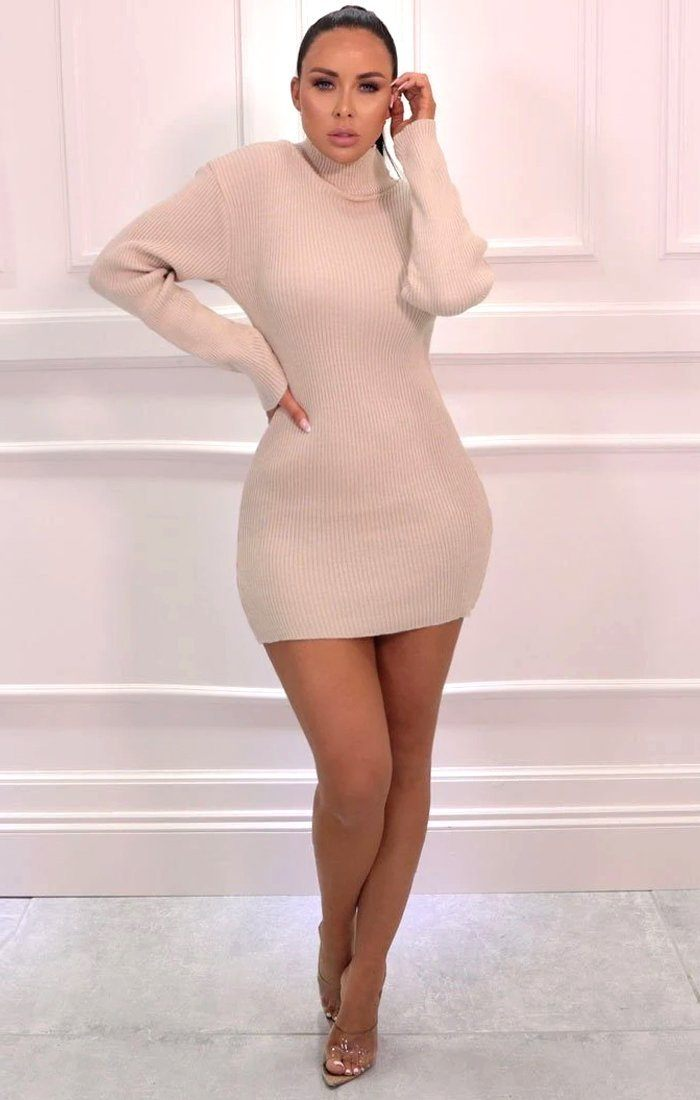 Stone High Neck Bodycon Jumper Dress - Esmelia