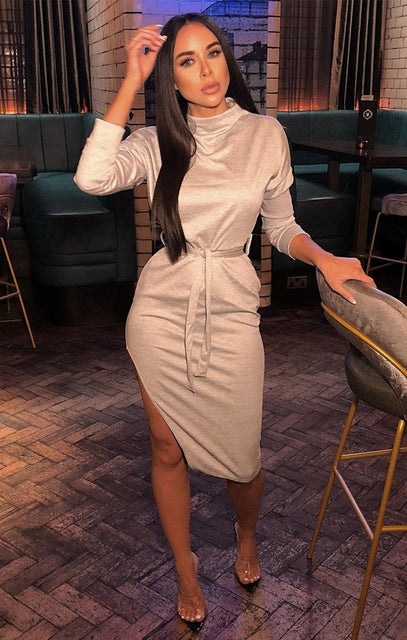 Stone High Neck Slit Midi Dress - Lily