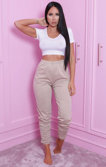 Stone High Waisted Lightweight Joggers - Kimora