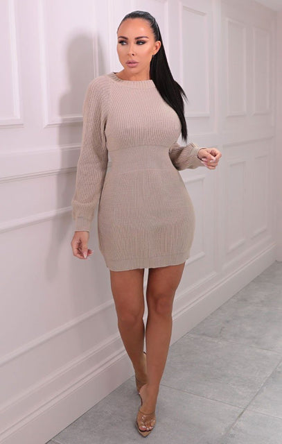 Stone Knitted Bat Wing Mini Jumper Dress - Lipton