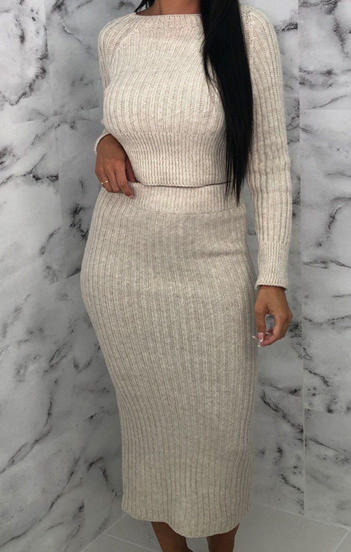 Stone Knitted Crop Top Maxi Skirt Co-ord - Voss