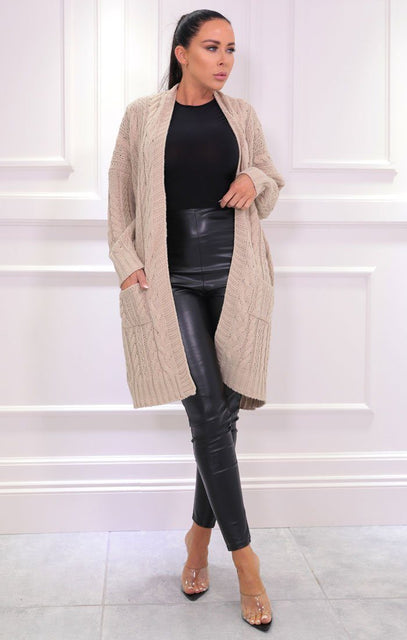 Stone Knitted Long Line Cardigan - Vicki