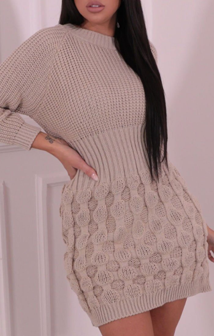 Stone Knitted Mini Jumper Dress - Kaia