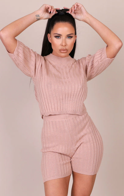 Stone Knitted Ribbed Shorts Co-ord - Celeste