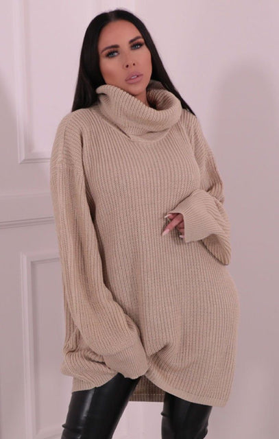 Stone Knitted Turtleneck Mini Jumper Dress - Elmore
