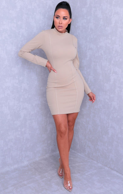 Stone Long Sleeve High Neck Bodycon Mini Dress - Kirsty