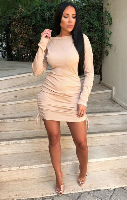Stone Long Sleeve Ribbed Mini Dress - Alli