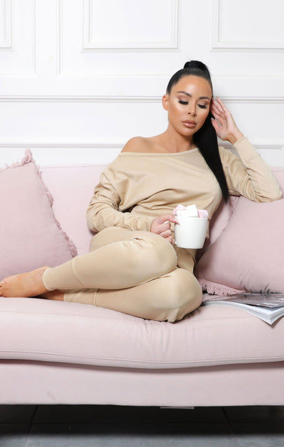 Stone Off Shoulder Loungewear Set – Blake