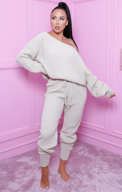 Stone Off The Shoulder Knitted Loungewear Set - Alisa