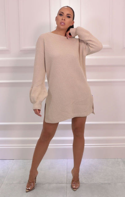 Stone Oversized Bloom Sleeve Knitted Jumper - Roisin