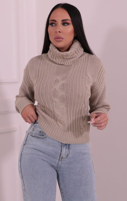 Stone Polo Neck Cropped Knit Jumper - Kate