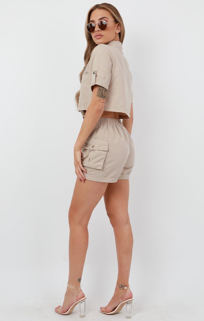 Stone Pop Button Shorts Co-Ord - Andrea