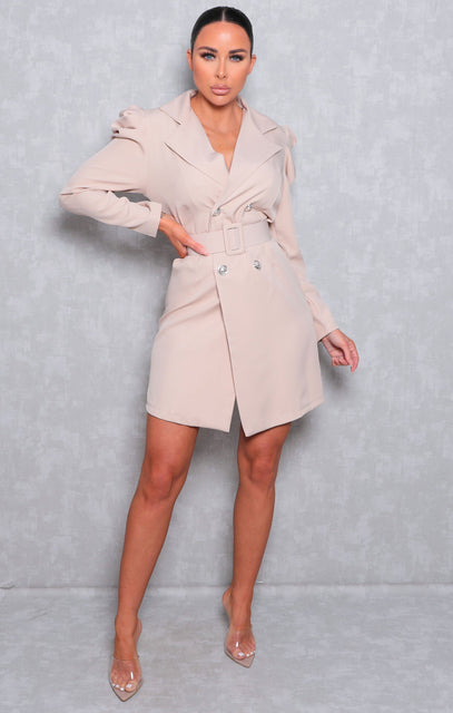 Stone Puff Shoulder Double Breasted Blazer Dress - Arlo