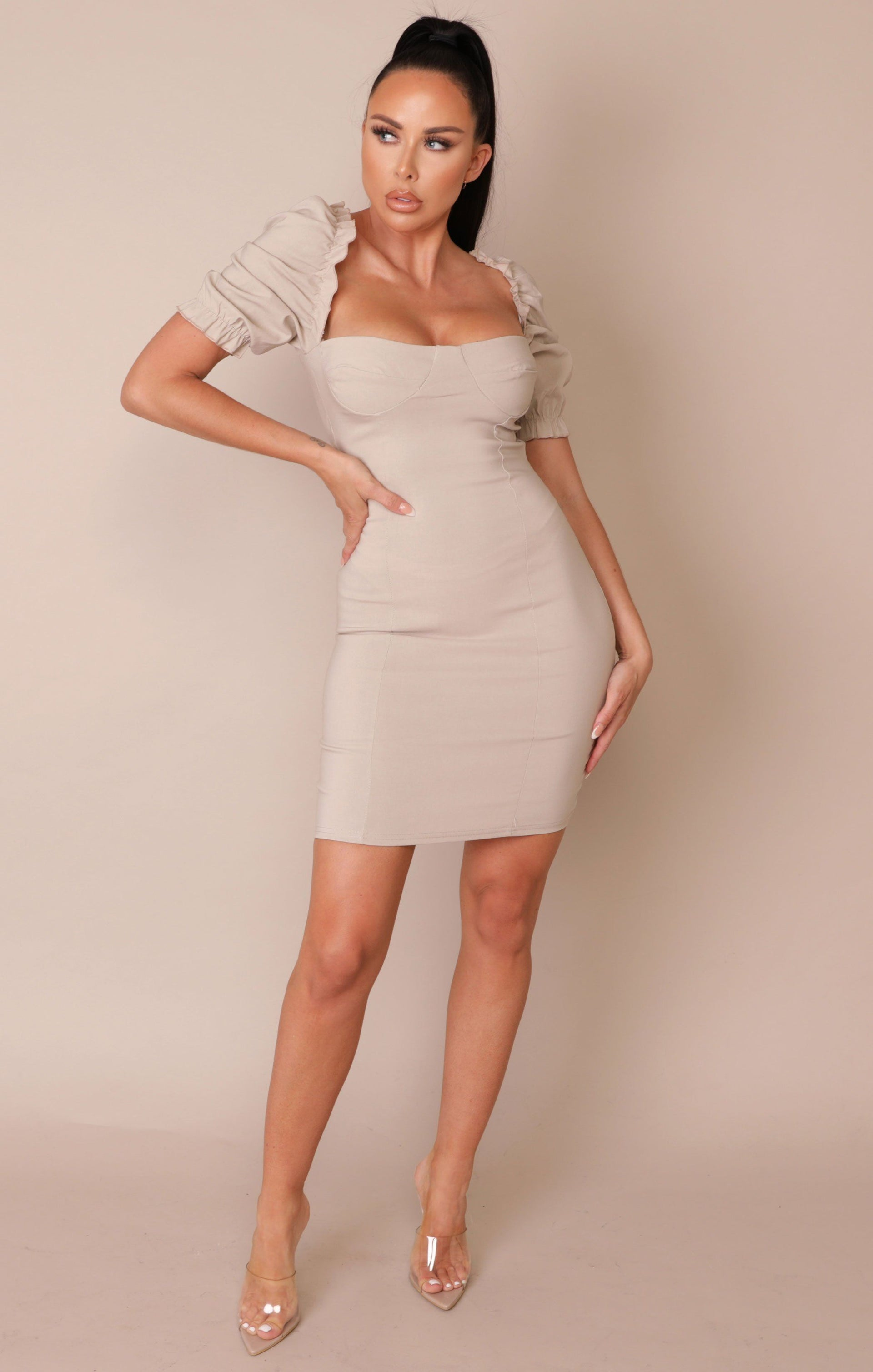 Stone Puff Sleeve Bodycon Mini Dress - Mae