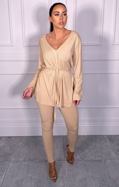 Stone Ribbed Belted Loungewear Set - Asia
