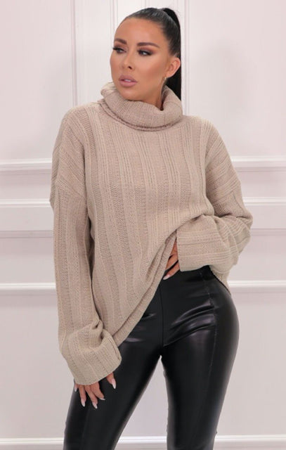 Stone Ribbed Knit Polo Neck Jumper - Vogue