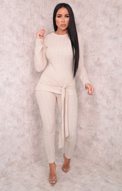 Stone Ribbed Long Line Tie Top Loungewear Set - Olivia