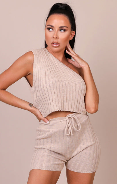 Stone Ribbed One Shoulder Co-ord - Selena