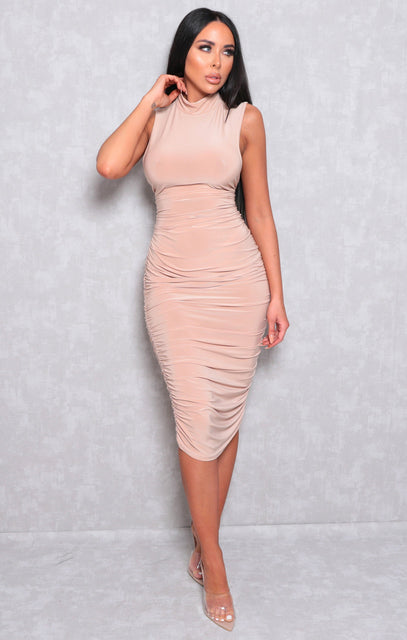 Stone Slinky High Neck Sleeveless Bodycon Midi Dress - Lorenzo